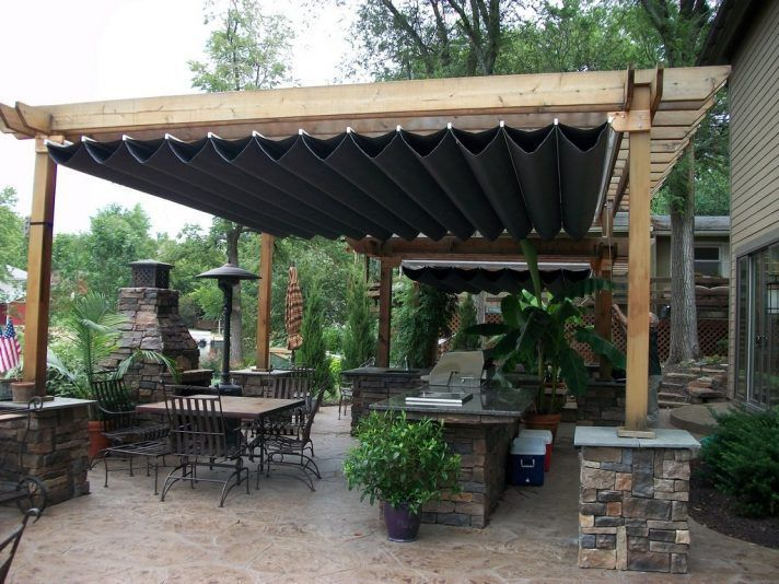 Hampton Bay Pergola With Retractable Roof Shade Panels Canopy Kit Home Depot Waterproof