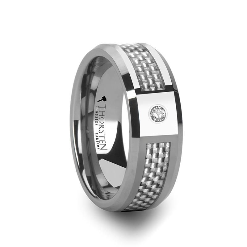 8mm ROYCE Tungsten Wedding Band with White Carbon Fiber and White Diamond Setting