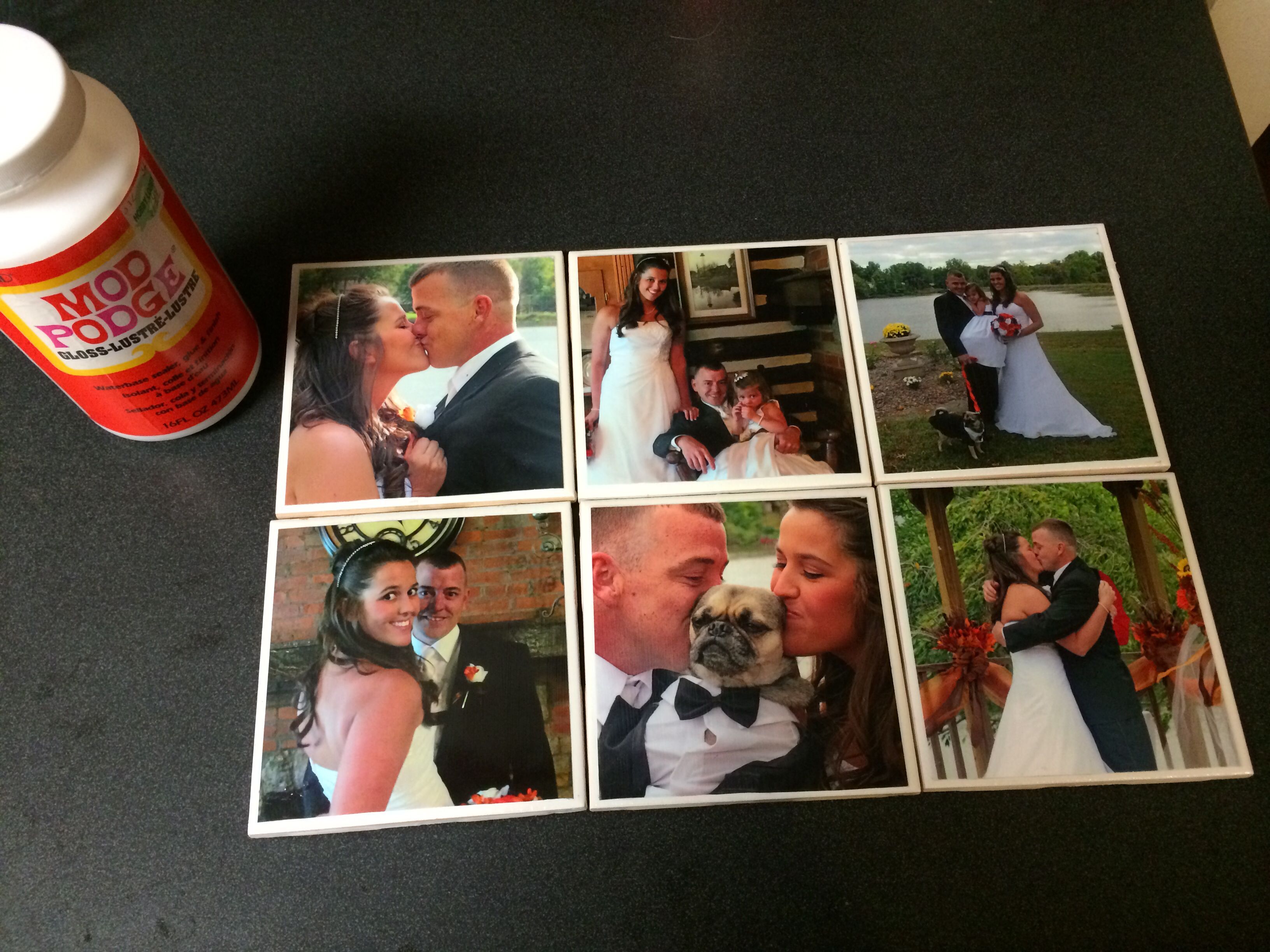 Homemade picture coasters!