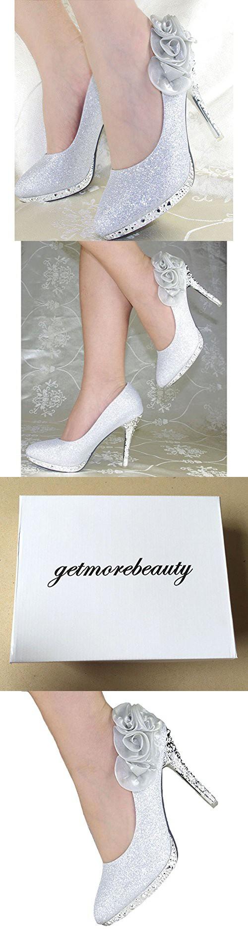 49c9774e328 Getmorebeauty Women s Silver Rose Flower Crystal Glitter Wedding Shoes 9 B(M)  US
