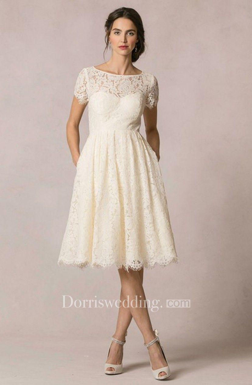 Aline shortsleeve scoopneck short lace wedding dress with keyhole