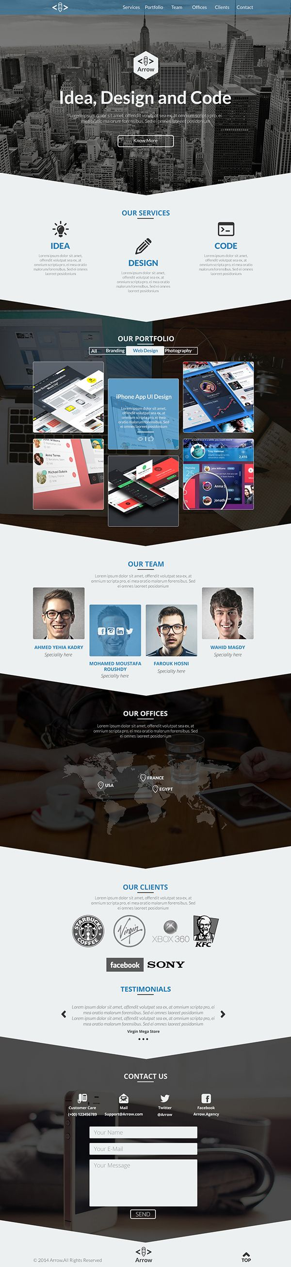 Arrow free one page business portfolio psd template webdesign ui arrow free one page business portfolio psd template flashek