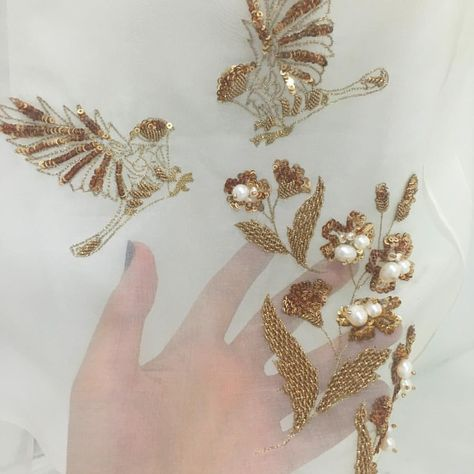 Gold Daffodils | Haute Couture | Tambour Beading & Embroidery