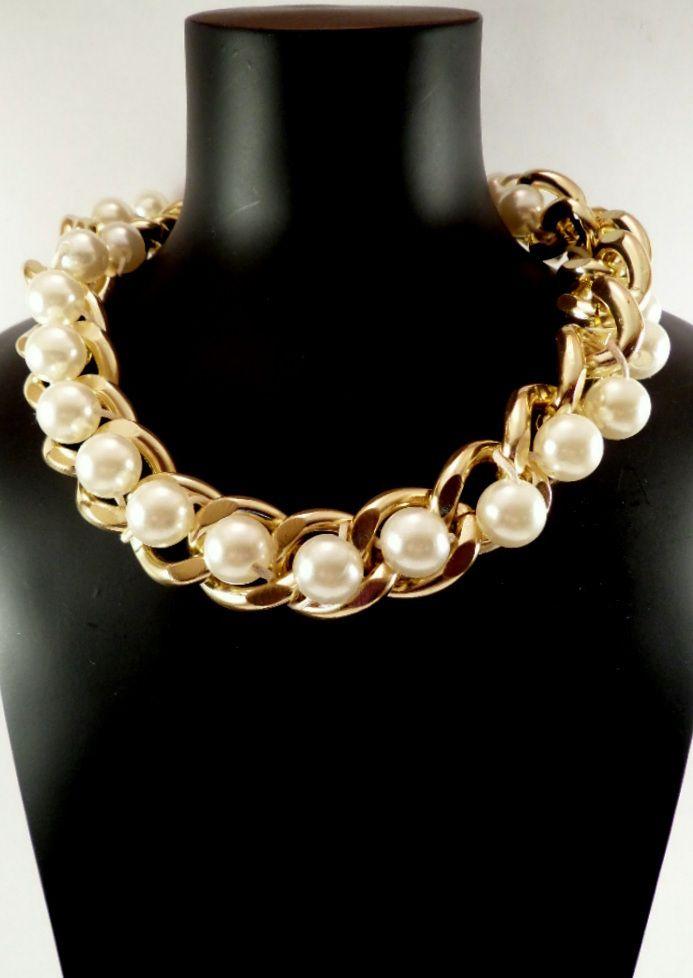 db1788ac13ab Collar Cadena dorada Perlas Grandes. 4