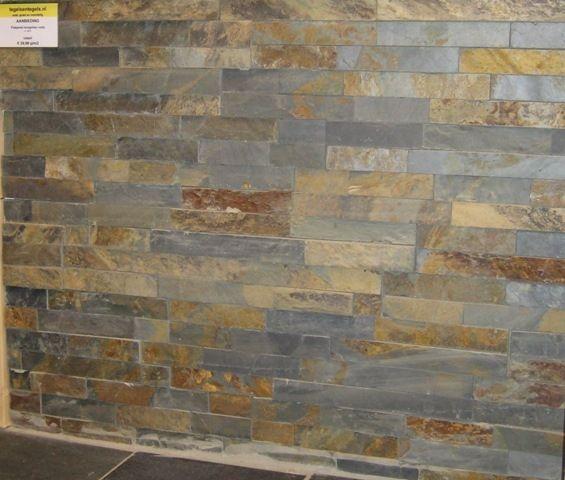 Sample Rustic Copper Linear Natural Slate Blend Mosaic: Flatpanel Stroken, Natuursteen, Mongolian Black