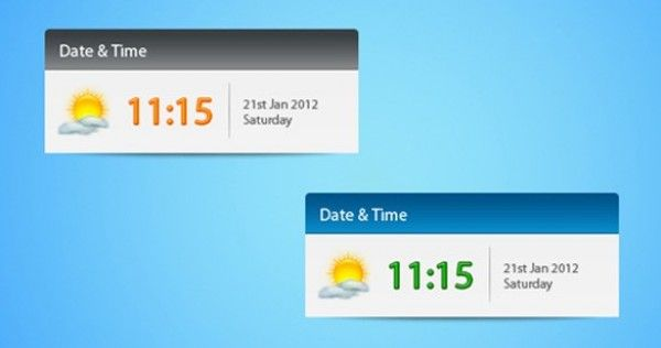 Awesome 5 Fresh Date & Time Widget Interface PSD Freebie