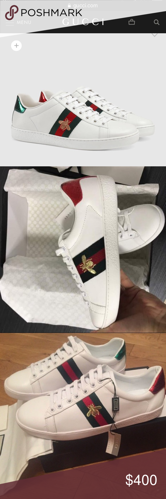6bd206884 GUCCI ACE BEE SNEAKER  AUTHENTIC   NEGOTIABLE  White leather with green and  red