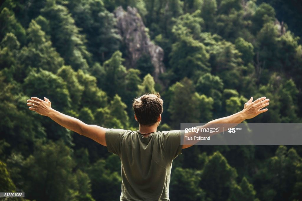 A Young Man Enjoying Freedom After Hiking At The Bodetal Valley In Enjoyment Freedom Young Man