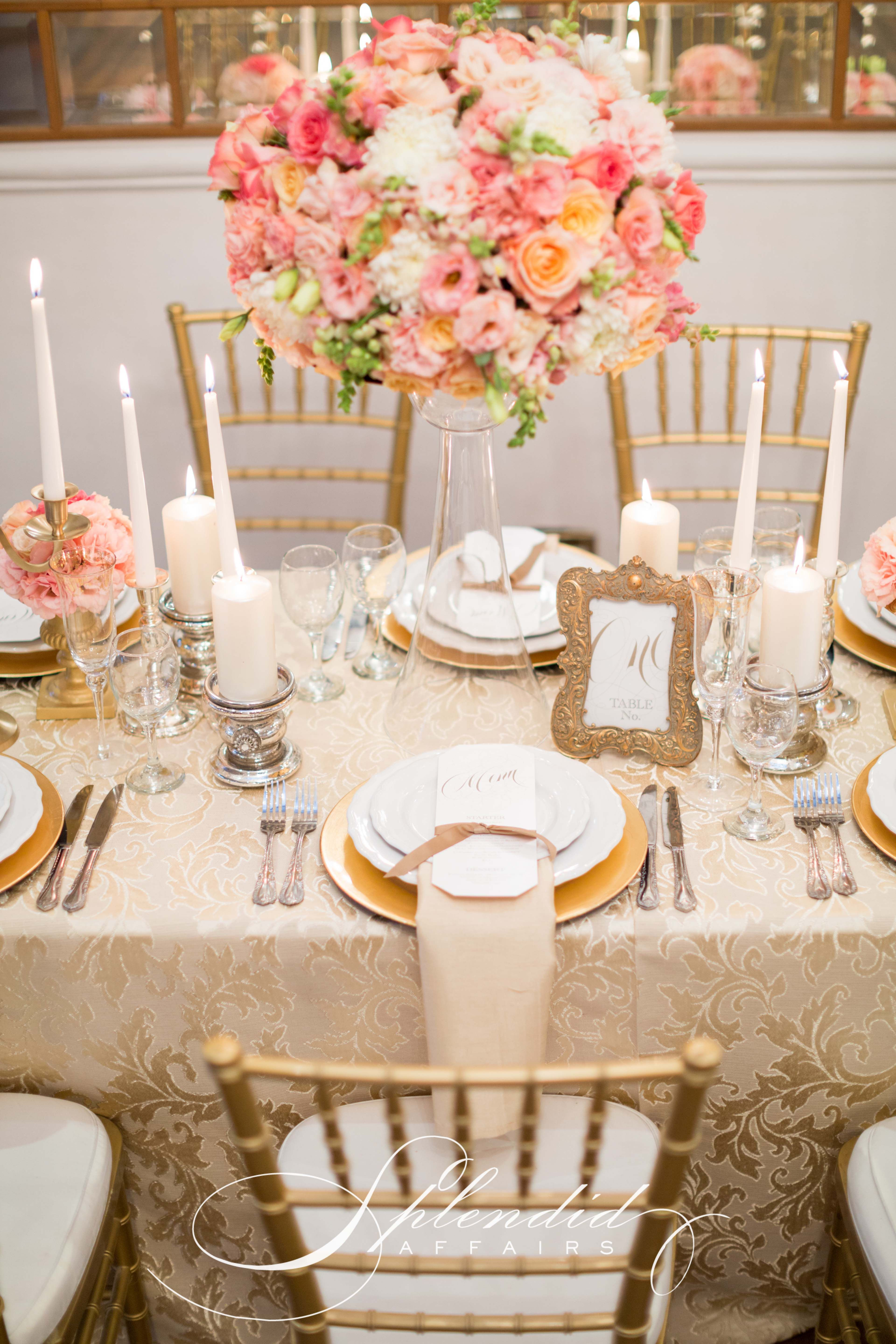 coral and gold wedding reception inspirations flowers decor and styling by splendid affairs photography - Wedding Reception Decor