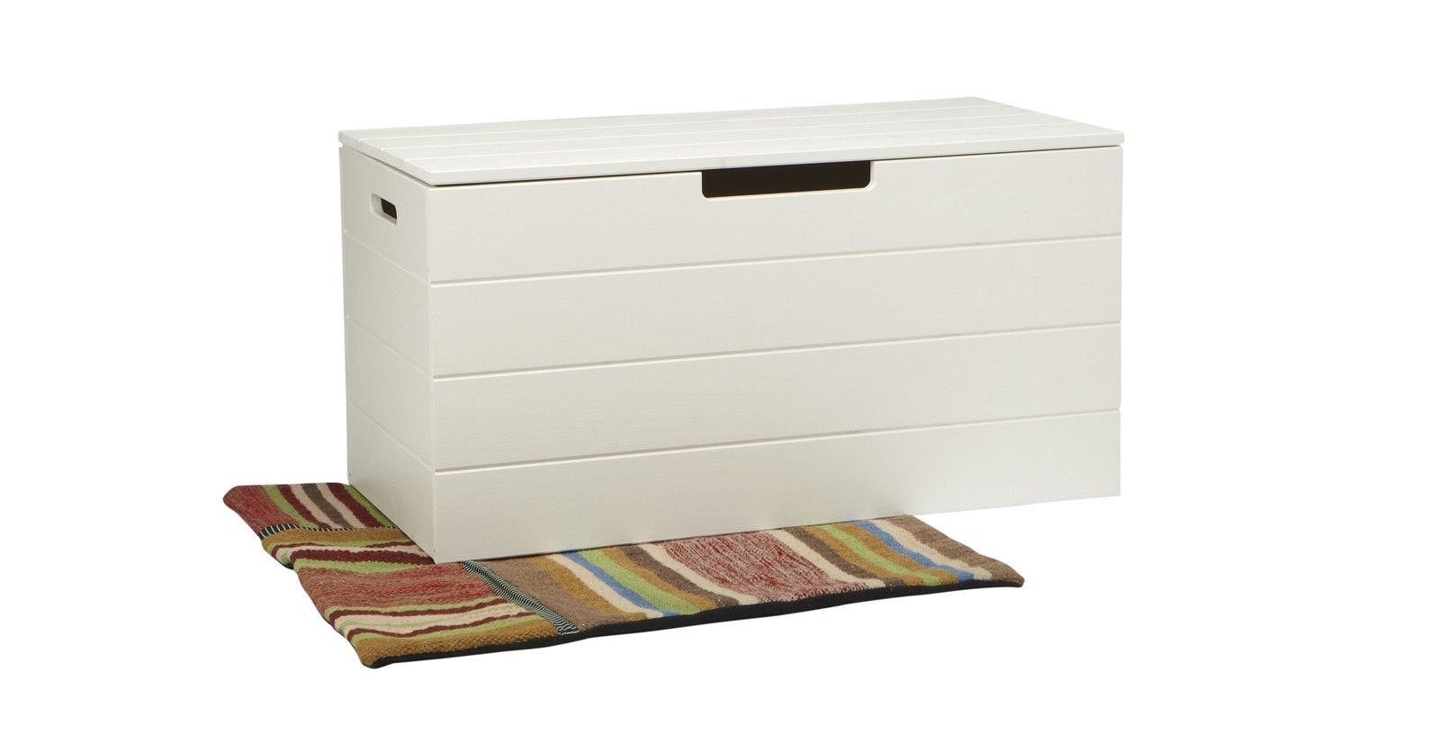 £97.99 Deep Wooden Chest In Classic White Providing Valuable Storage Across  The Home. Also