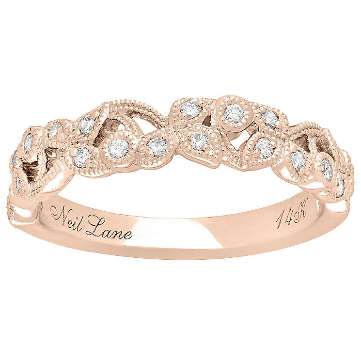 Neil Lane 14ct Rose Gold 0.21ct Diamond Vine Wedding Band