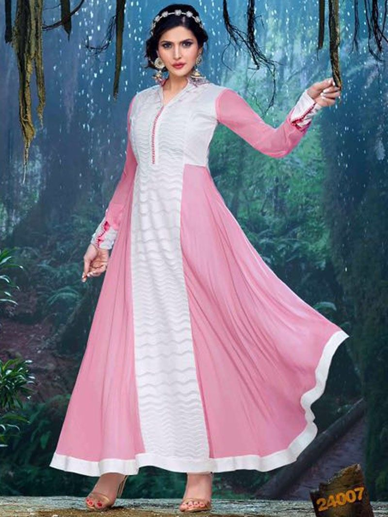 Pink with White Floor Length Embroidered #Anarkali Suit by Zareen Khan