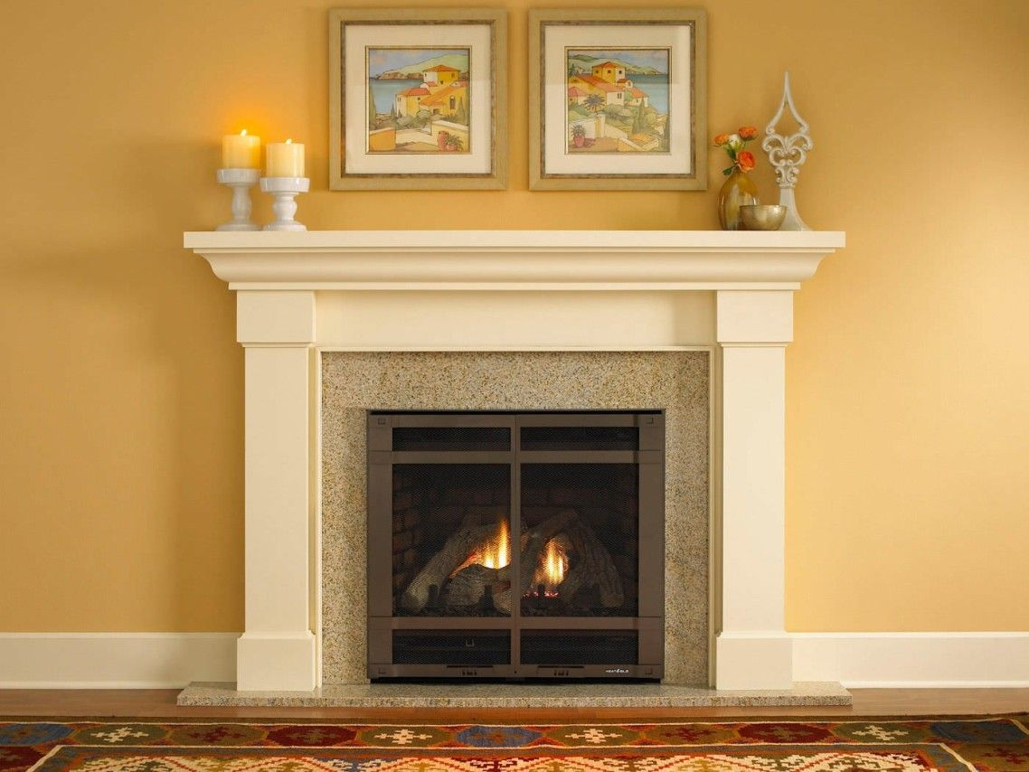 Amazing Cream Color Granite Fireplace Hearth And Combine With ...