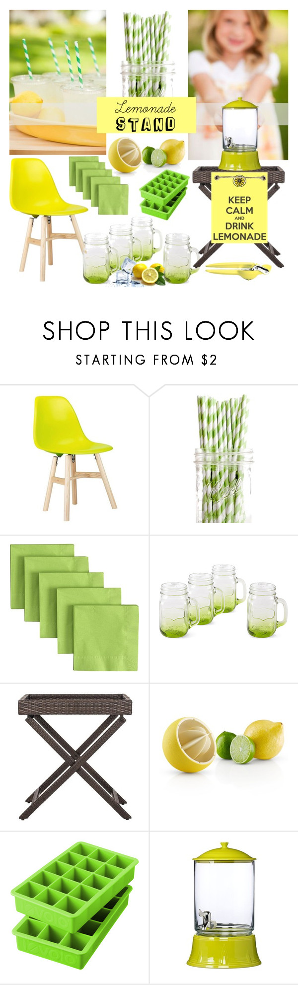 """""""Pucker Up: Lemonade Stand"""" by bklana ❤ liked on Polyvore featuring interior, interiors, interior design, home, home decor, interior decorating, Dot & Bo, Crate and Barrel, Eva Solo and Tovolo"""
