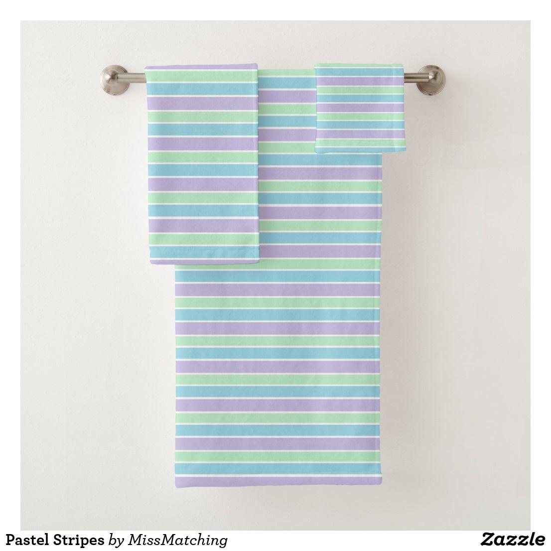 Pastel Stripes Bath Towel Set Zazzle Com Striped Bath Towels