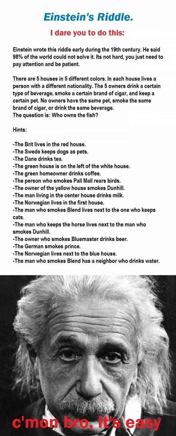 And for how many minutes you can solve this riddle of Einstein