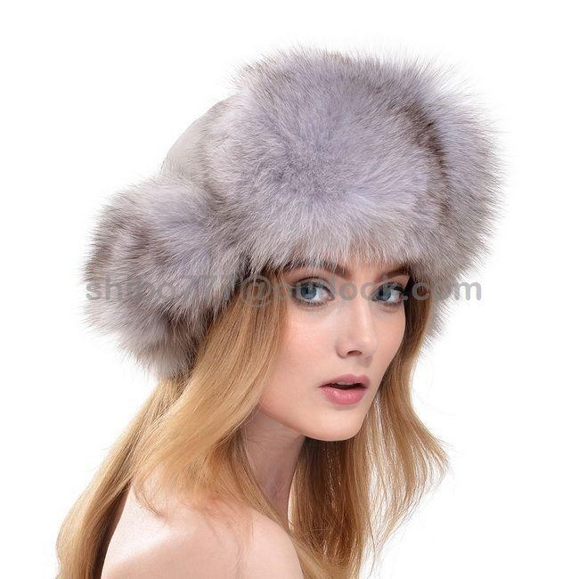 b76ff40bc9c9a Real Genuine Women S White Fox Fur Hat Russian Style Winter Warmer Ear Cap