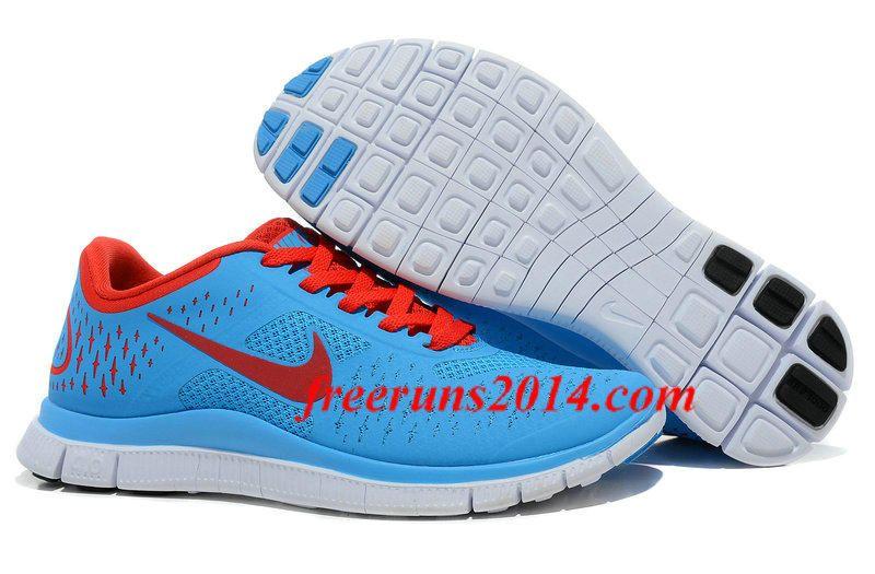 29dfe451760f8 Mens Nike Free 4.0 V2 Blue Crimson Platinum Running shoes  Blue  Womens   Sneakers