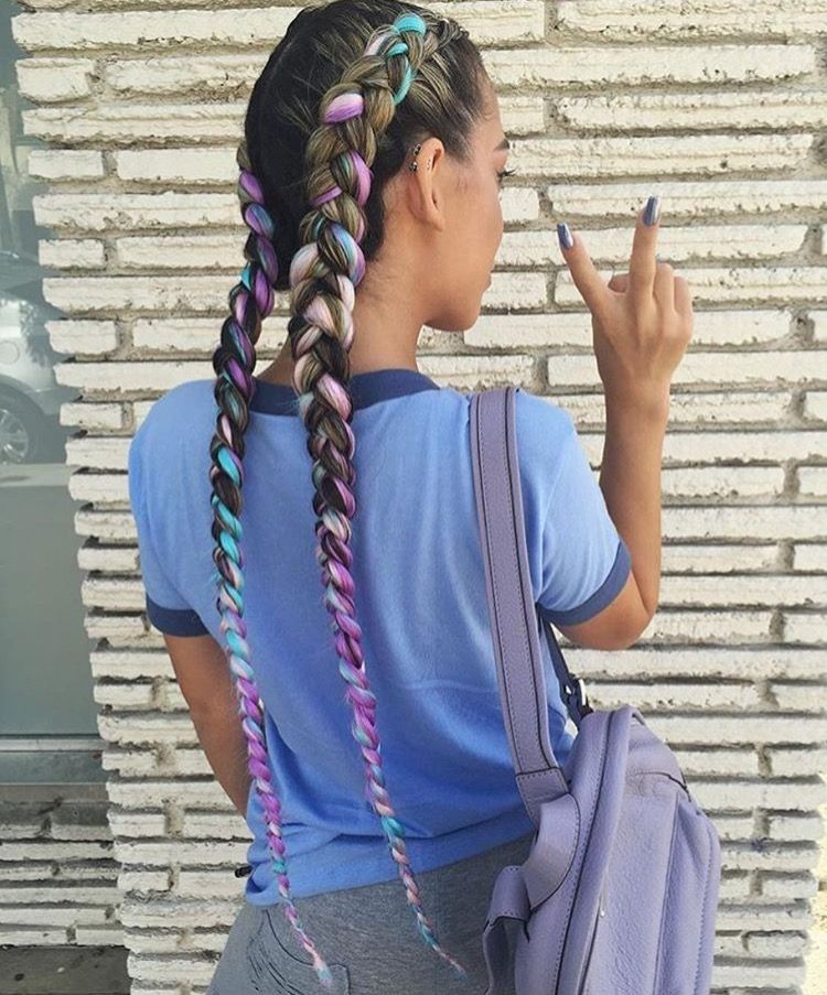 Pink And Turquoise French Braids Braids With Extensions