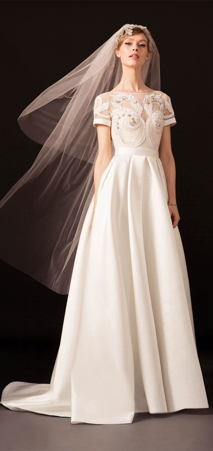 Short sleeves open neckline and scoop back with a long structured duchess satin pleated skirt embroidered with art nouveau a line wedding dress #wedding #weddingdress #weddinggown