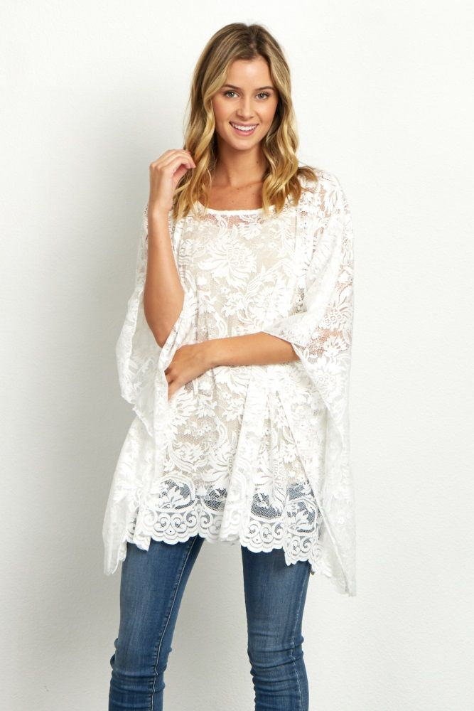 0c43de0f0276b5 Ivory Floral Lace Poncho Top | Buy | Poncho tops, Floral lace, Tops