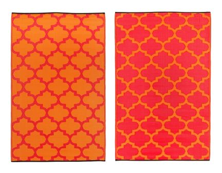 Tangier Reversible Orange Red Trellis Pattern Modern Outdoor Recycled Rug  Via Room Fu   Knockout Interiors