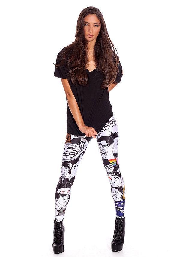 a266af7305e Memes Leggings   Printed Leggings   Designer Clothing   Colorful Leggings    Party Outfit   Womens Leggings   Top Quality Fabric   XS