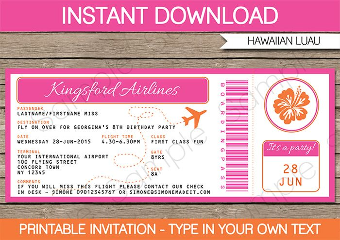 Luau Boarding Pass Invitations Boarding pass invitation, Boarding - plane ticket invitation template