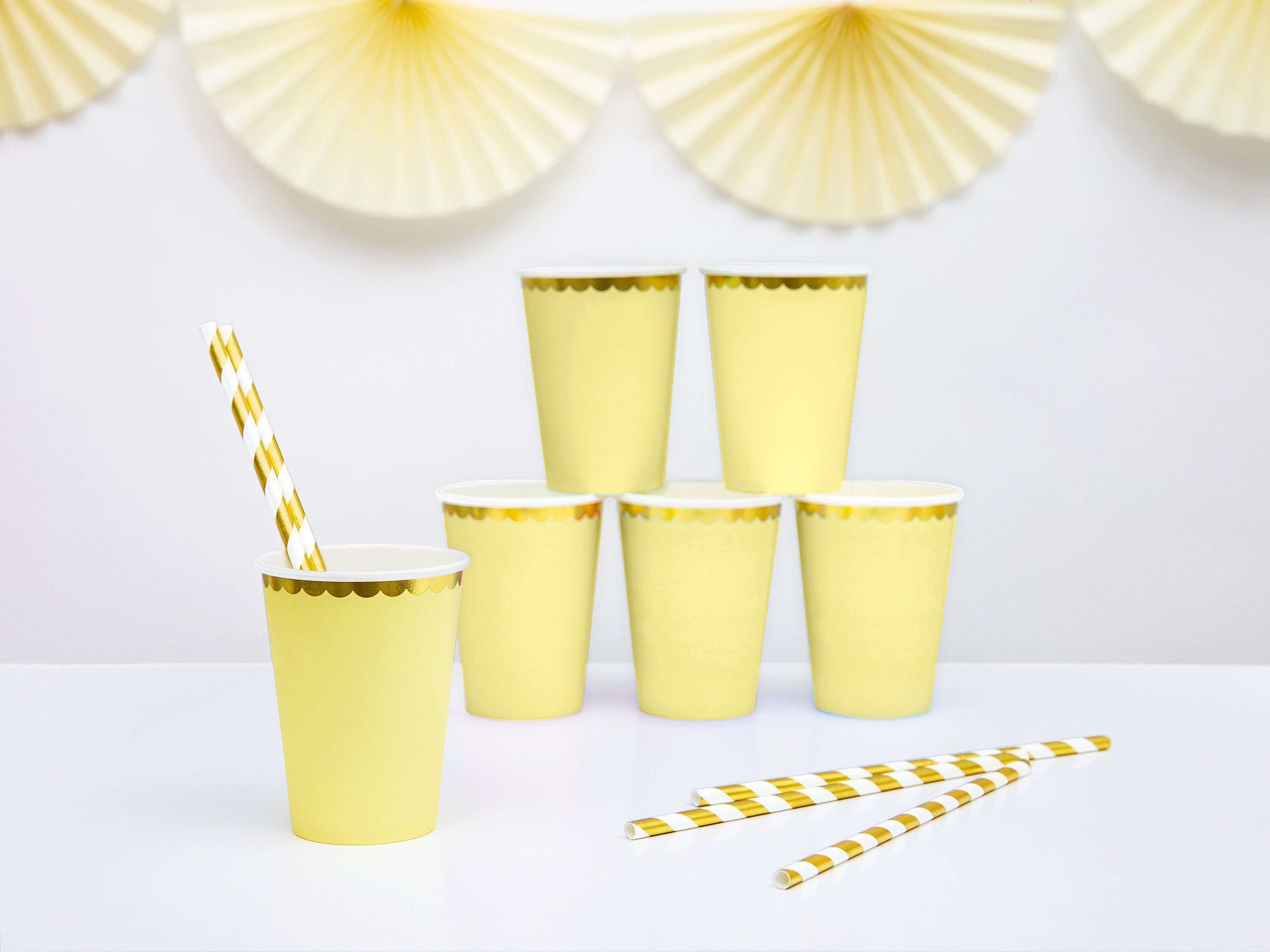 Pastel Yellow and Gold Foil Paper Party Cups Pack of 6