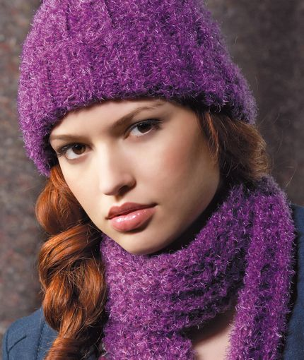 Ribbed Hat and Scarf Knitting Pattern | Red Heart ...