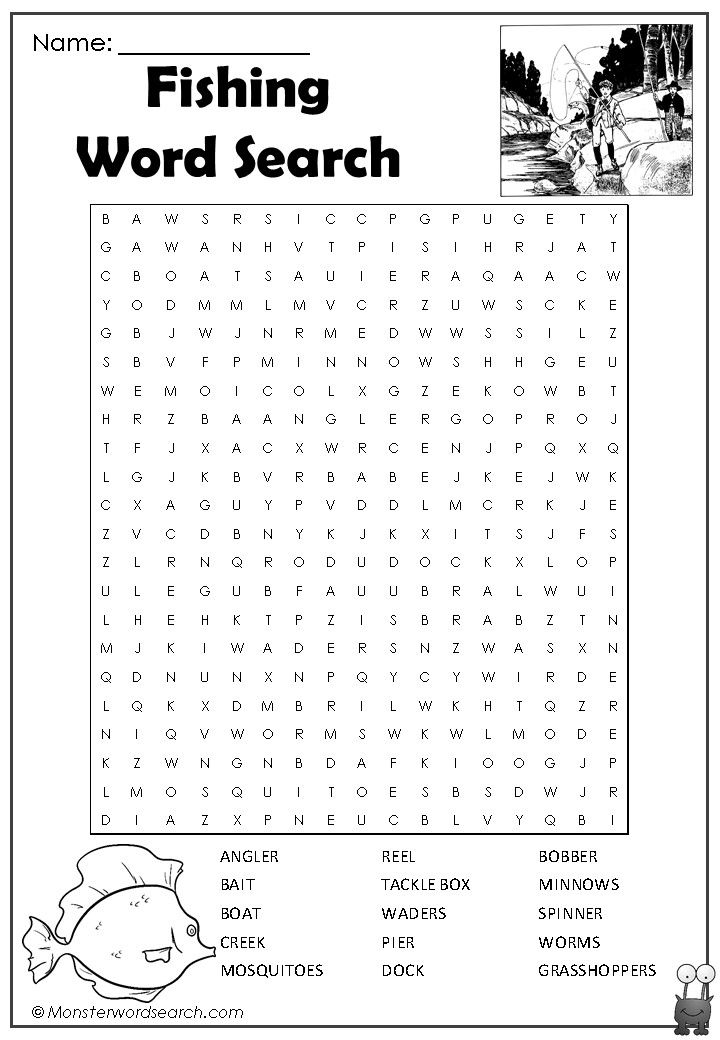 Cool Fishing Word Search Printable Activities For Kids Printable Puzzles For Kids Word Find