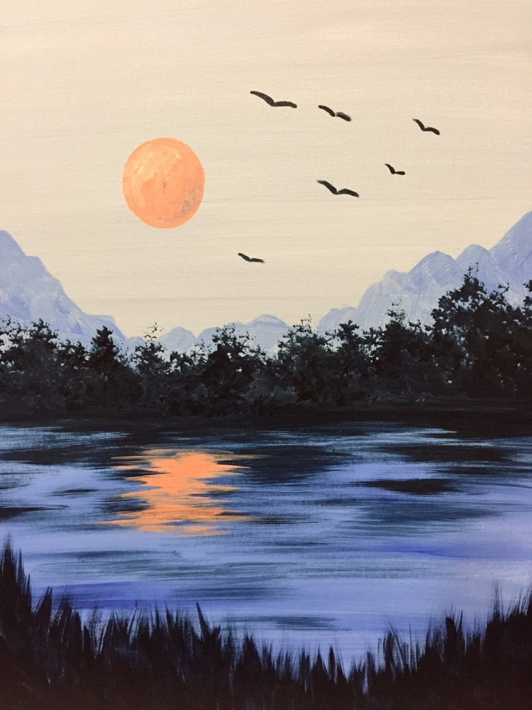 I Am Going To Paint Cool Summer Night At Pinot S Palette Ellicott City To Discover My Inner Artist Easy Landscape Paintings Landscape Paintings Intense Art