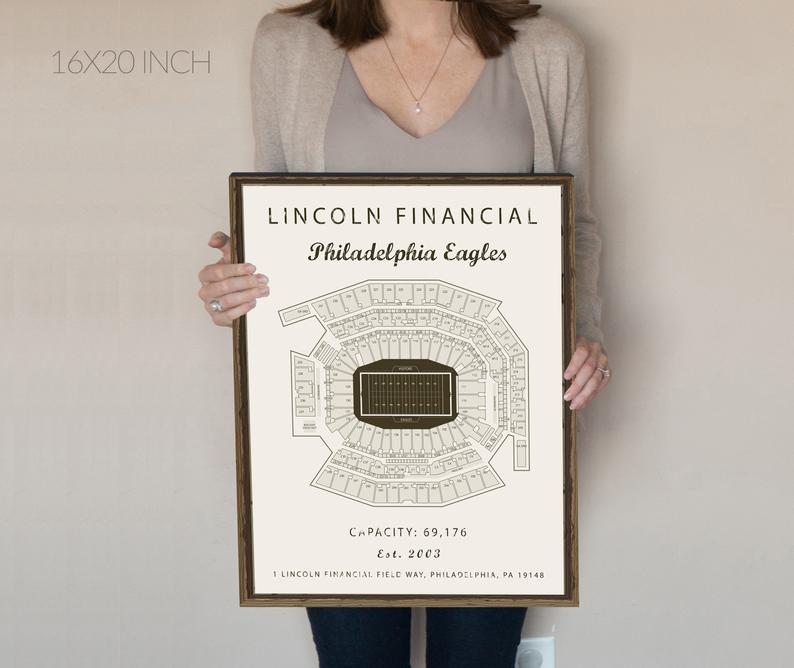 Philadelphia Eagles Lincoln Financial Field Seating Chart Etsy Philadelphia Eagles Sports Prints Philadelphia Art