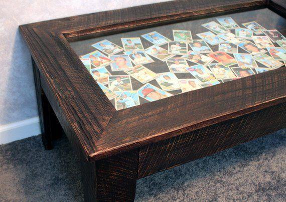 Brown Display Coffee Table Rustic Shadowbox Keepsake 40
