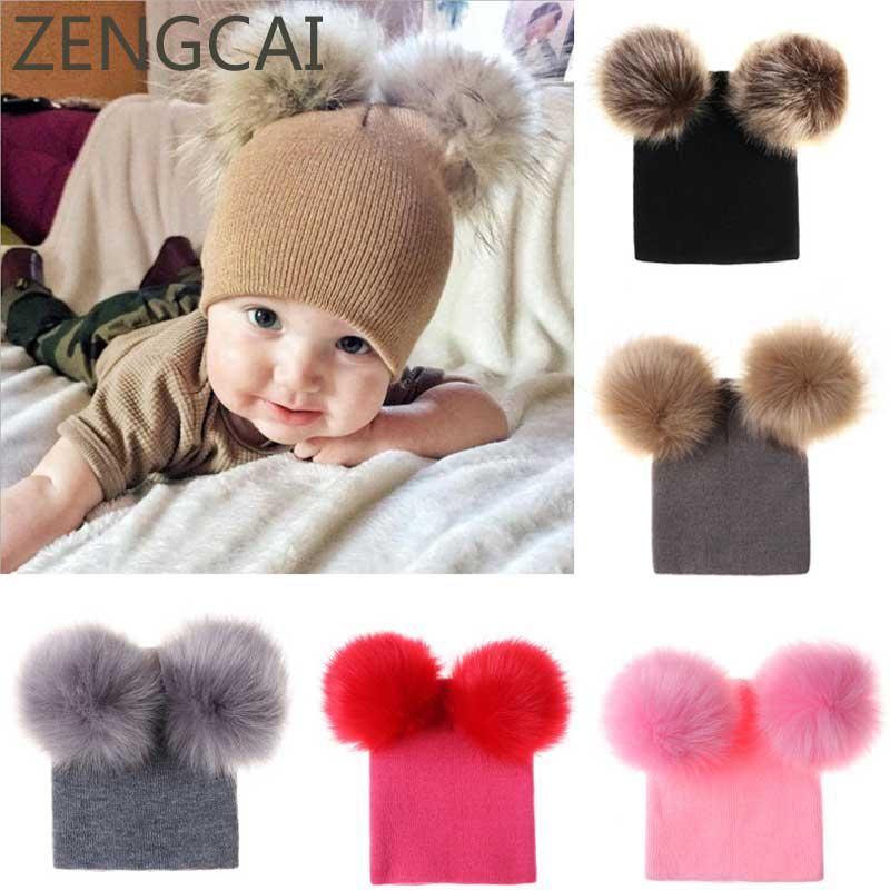 2b4c64855e6 Baby Beanie With Faux Raccoon Fur Pom Pom Hat Kids Wool Hats Children  Skullies Beanies Cap Autumn Winter Crochet Knit Warm Caps.