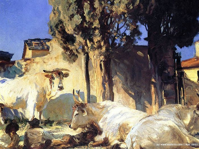 Oxen Resting  - John Singer Sargent  Oil Paintings   33