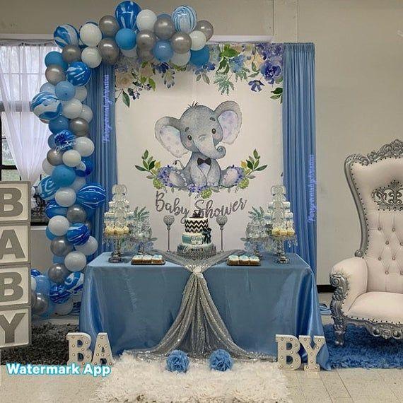 Boy Elephant 6x6 ft CANDY TABLE BACKDROP, Blue Elephant Boy Baby