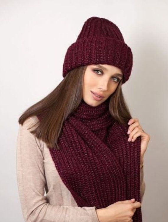 6584f6174f8b3 Violet Set hats and scarf for girl Bordeaux Wool hat Blue Knitted set  ladies Winter chunky scarf ca