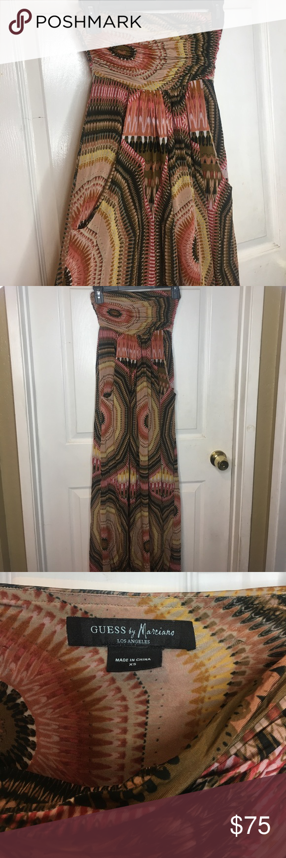 GUESS by Marciano strapless maxi dress w/ pockets GUESS by Marciano strapless long maxi dress with pockets Guess by Marciano Dresses Maxi