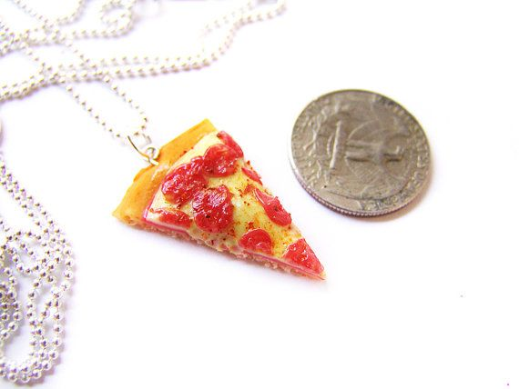 Pepperoni Pizza Design Silver Plated Necklace New in Gift Bag