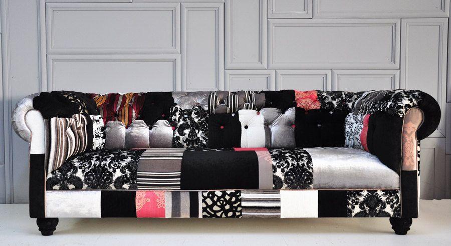 Divano Patchwork ~ Black & white chesterfield patchwork sofa by namedesignstudio via