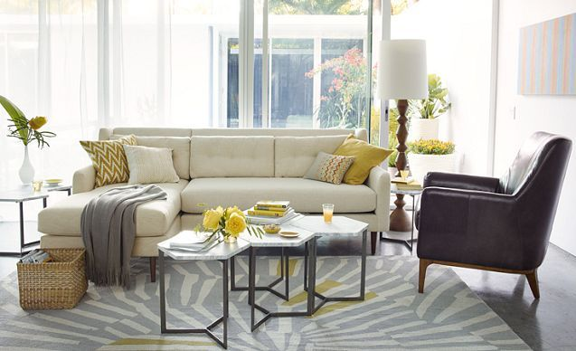 I Love The West Elm Living Room Looks On Westelm Showing A Lot Of Light However Small Accents Gray And Yellow To Help Brighten