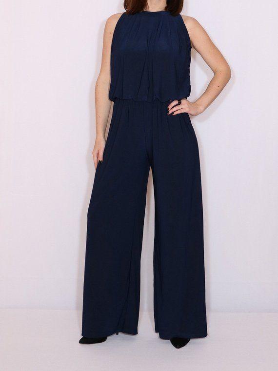 7bd211ac90 Navy bluewide leg jumpsuit / Blue halter top jumpsuit / Blue wide leg  jumpsuit
