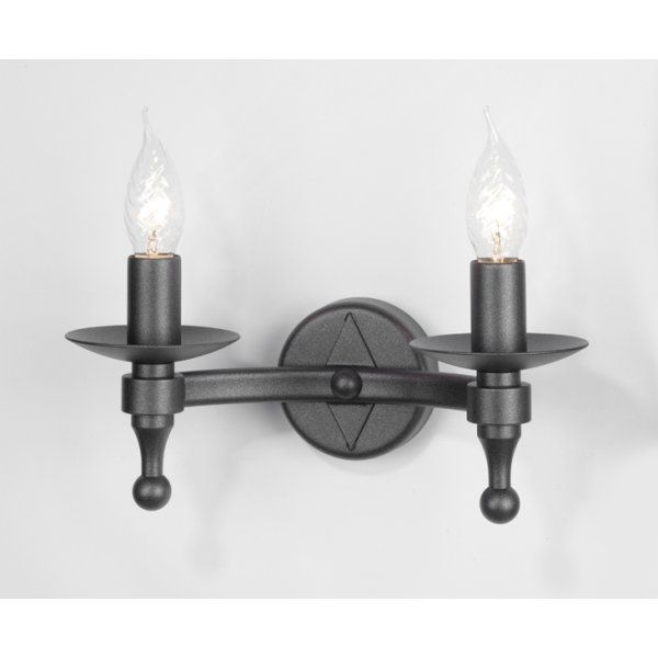 Wrought iron black medieval rustic double wall light 2 candle bulbs buy rustic wrought iron wall lights warwick black double wall light for medieval look aloadofball Images