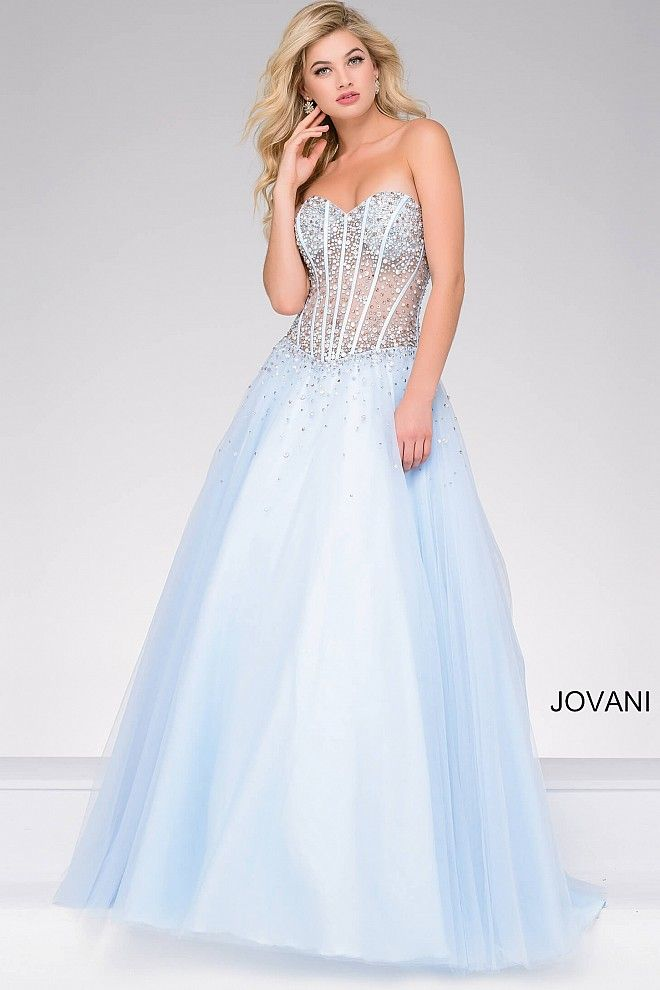 97ba682609b Beautiful blue floor length tulle prom ballgown features corset sheer  bodice with visible piping and beading and a strapless sweetheart neckline