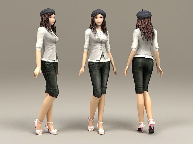 Casual Asian Girl 3d model