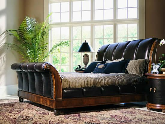 Bob Mackie Sleigh Bed with Leather Panels (I own this and <3 it ...