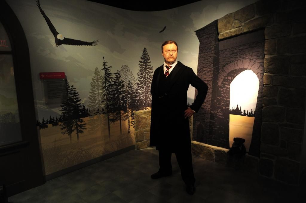 A wax figure of President Theodore Roosevelt is seen at the opening of Madame Tussauds U.S.