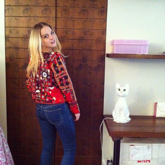 Laura Hayden wearing Mochi's embellished jacket at the showroom