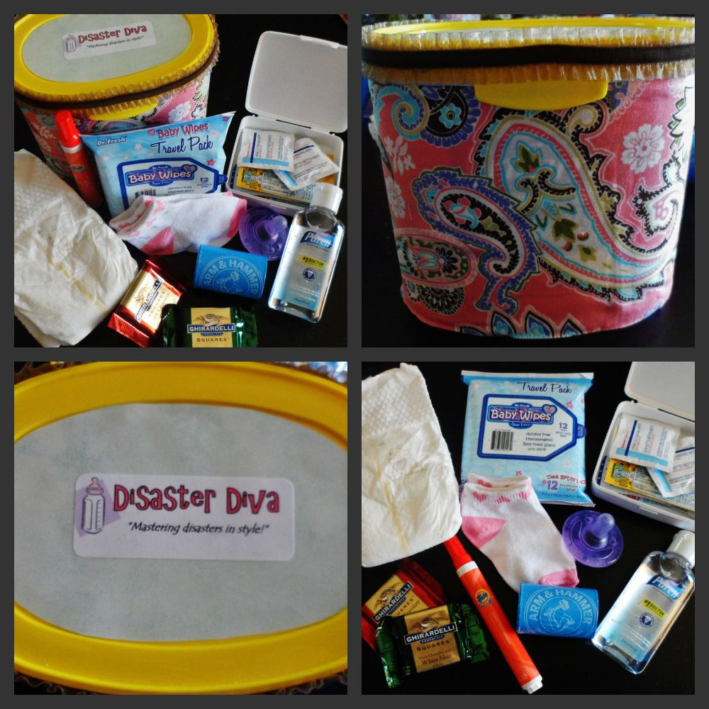 Repurpose an old formula tub into a baby emergency car kit